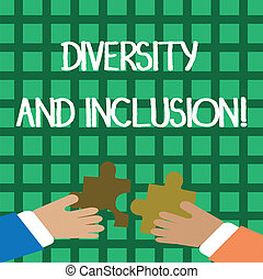 Conceptual hand writing showing Diversity And Inclusion. Business photo showcasing range huanalysis difference includes race ethnicity gender Hands Holding Jigsaw Puzzle Pieces about Interlock the Tiles.