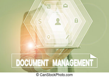 Conceptual hand writing showing Document Management. ...