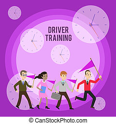Conceptual hand writing showing Driver Training. Business photo showcasing prepares a new driver to obtain a driver s is license Crowd Flags Headed by Leader Running Demonstration Meeting.