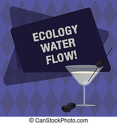 Conceptual hand writing showing Ecology Water Flow. Business photo text system for analysisaging quantity timing and quality of water Filled Cocktail Wine Glass with Olive on the Rim Text Space.