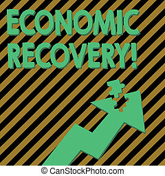Conceptual hand writing showing Economic Recovery. Business photo text rise of business activity signaling the end of a recession Arrow Pointing Up with Detached Part Jigsaw Puzzle Piece.