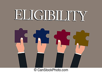 Conceptual hand writing showing Eligibility. Business photo text State of having the right for doing or obtain something Proper.