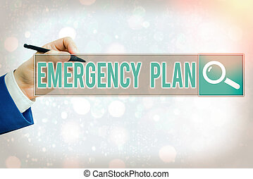 Conceptual hand writing showing Emergency Plan. Business photo text procedures for handling sudden or unexpected situations.