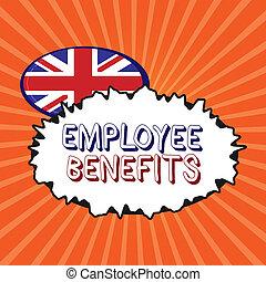 Conceptual hand writing showing Employee Benefits. Business...