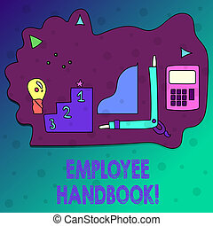 Conceptual hand writing showing Employee Handbook. Business photo text Document Manual Regulations Rules Guidebook Policy Code.