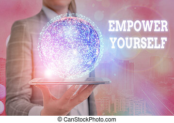Conceptual hand writing showing Empower Yourself. Concept meaning taking control of our life setting goals and making choices Elements of this image furnished by NASA