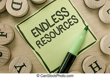 Conceptual hand writing showing Endless Resources. Business...