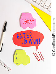 Conceptual hand writing showing Enter To Win. Business photo showcasing exchanging something value for prize chance winning prize Red bubble copy space paper on the table with clock.