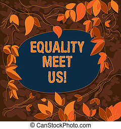 Conceptual hand writing showing Equality Meet Us. Business photo showcasing ensuring that every individual has equal opportunity Tree Branches Scattered with Leaves Blank Color Text Space.