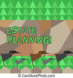 Conceptual hand writing showing Estate Planning. Business photo showcasing Insurance Investment Retirement Plan Mortgage Properties.