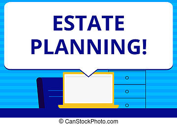Conceptual hand writing showing Estate Planning. Business photo text Insurance Investment Retirement Plan Mortgage Properties.