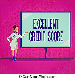 Conceptual hand writing showing Excellent Credit Score. Business photo text an individual s is report of financial standing and capacity to pay Doctor with Stethoscope Hand Presenting Blank Whiteboard.