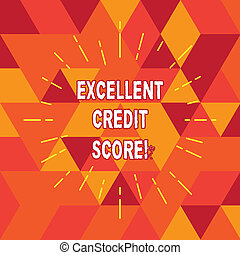 Conceptual hand writing showing Excellent Credit Score. Business photo text number that evaluates a consumer s is creditworthiness Thin Beam Lines Spreading out Sunburst Radiates on Squares.