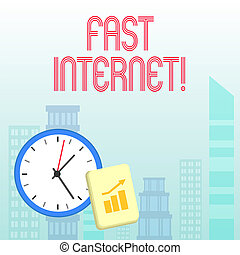 Conceptual hand writing showing Fast Internet. Business photo showcasing term used for Internet service that is faster than the average.
