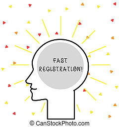Conceptual hand writing showing Fast Registration. Business photo showcasing Quick method of entering certain information in a register Outline Silhouette Human Head Surrounded by Light Rays Blank.