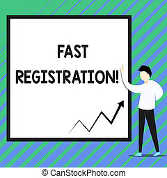 Conceptual hand writing showing Fast Registration. Business photo showcasing Quick method of entering certain information in a register Zigzag arrow line diagram chart present in board by lecturer.