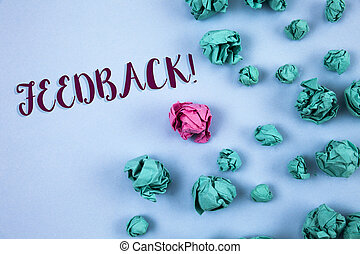 Conceptual hand writing showing Feedback Motivational Call. Business photo text Rating an economical local grocery store written on Plain Blue background Paper Balls next to it.