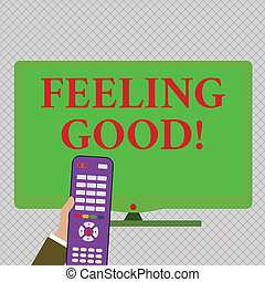 Conceptual hand writing showing Feeling Good. Business photo text causing happy positive feelings about life have satisfaction Hand Holding Remote Control infront of Wide Color PC Screen.