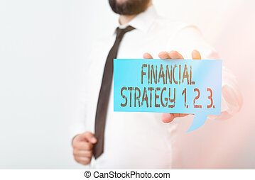 Conceptual hand writing showing Financial Strategy 1 2. 3.. Business photo showcasing build on insights from a business context Displaying different color notes for emphasizing content.