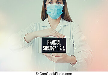 Conceptual hand writing showing Financial Strategy 1 2. 3.. Business photo showcasing build on insights from a business context Laboratory technician featuring paper accessories smartphone.