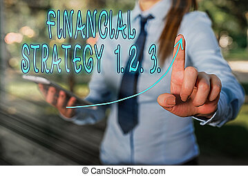 Conceptual hand writing showing Financial Strategy 1 2. 3.. Business photo showcasing build on insights from a business context Digital arrowhead curve denoting growth development concept.
