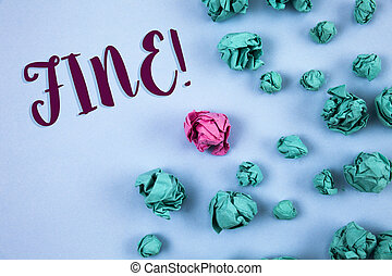 Conceptual hand writing showing Fine Motivational Call. Business photo text No hidden charges from large moving companies written on Plain Blue background Paper Balls next to it.