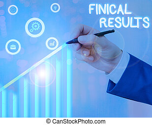 Conceptual hand writing showing Finical Results. Concept meaning written records that convey the business activities
