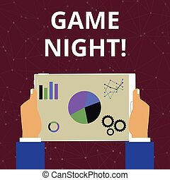 Conceptual hand writing showing Game Night. Business photo text usually its called on adult play dates like poker with friends Hands Holding Tablet with Search Engine Optimization on the Screen.