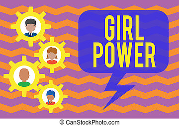 Conceptual hand writing showing Girl Power. Concept meaning assertiveness and selfconfidence shown by girls or young woanalysis Gearshaped picture frame family ornament Whole Family photo