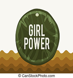 Conceptual hand writing showing Girl Power. Concept meaning assertiveness and selfconfidence shown by girls or young woanalysis Oval plank round wooden board circle shaped wood background