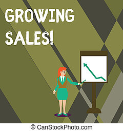 Conceptual hand writing showing Growing Sales. Business photo text Average sales volume of a company s is products has grown Woman Holding Stick Pointing to Chart of Arrow on Whiteboard.