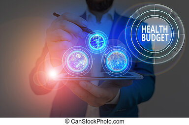 Conceptual hand writing showing Health Budget. Business photo showcasing amount of money to support your health and wellbeing needs Elements of this image furnished by NASA.