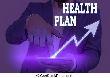 Conceptual hand writing showing Health Plan. Business photo text entity that provides coverage of designated health services.
