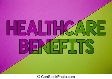 Conceptual hand writing showing Healthcare Benefits. Business photo showcasing it is insurance that covers the medical expenses Pink lime background message thoughts important information.