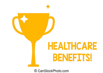 Conceptual hand writing showing Healthcare Benefits. Business photo showcasing monthly fair market valueprovided to Employee dependents Glitter Gold Trophy Championship Cup Winner Prize Isolated.