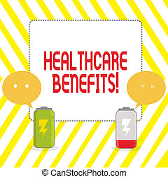 Conceptual hand writing showing Healthcare Benefits. Business photo showcasing monthly fair market valueprovided to Employee dependents Fully Charge and Discharge Battery with Emoji Speech Bubble.