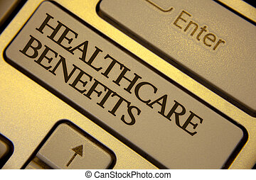 Conceptual hand writing showing Healthcare Benefits. Business photo text it is insurance that covers the medical expenses Keyboard grey keys yellow background computer message keypad.