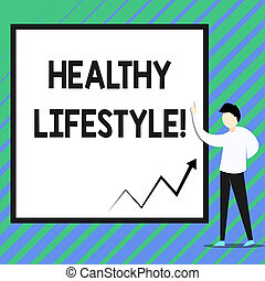 Conceptual hand writing showing Healthy Lifestyle. Business photo showcasing way of living that lowers the risk of being seriously ill Zigzag arrow line diagram chart present in board by lecturer.