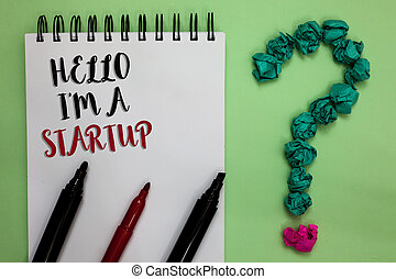 Conceptual hand writing showing Hello I am A Startup. Business photo showcasing Entrepreneur starting business Presenting New project Sticky note with texts touch green paper lob question mark.