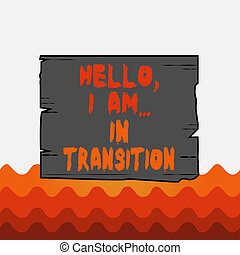 Conceptual hand writing showing Hello I Am In Transition. Business photo text Changing process Progressing planning new things Wooden plank slots grooves wood panel colored board lumber.