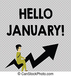 Conceptual hand writing showing Hello January. Business ...