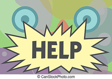Conceptual hand writing showing Help. Business photo text The action of helping someone to do something Improve a situation