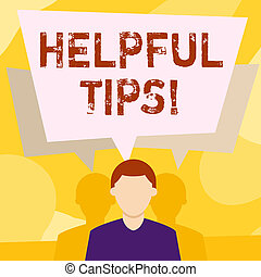 Conceptual hand writing showing Helpful Tips. Business photo text secret information or advice given to be helpful knowledge Faceless Man has Two Shadows with Speech Bubble Overlapping.