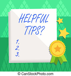 Conceptual hand writing showing Helpful Tips Question. Business photo text secret information or advice given to be helpful knowledge White Sheet of Parchment Paper with Ribbon Seal Stamp Label.