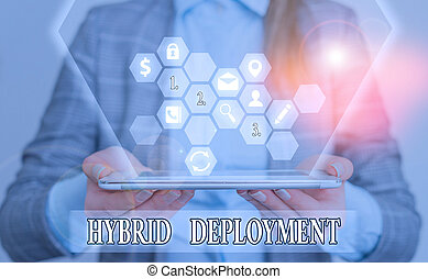 Conceptual hand writing showing Hybrid Deployment. Business photo text a combination of onpremises applications or data.