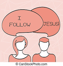 Conceptual hand writing showing I Follow Jesus. Business photo showcasing Religious demonstrating with lot of faith Love for God Spirituality.