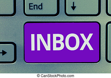 Conceptual hand writing showing Inbox. Business photo text electronic folder in which emails received by individual are held