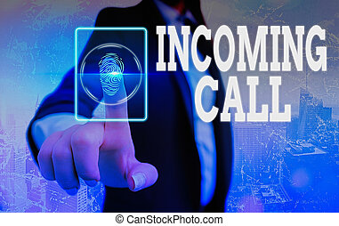 Conceptual hand writing showing Incoming Call. Business photo showcasing Inbound Received Caller ID Telephone Voicemail Vidcall.