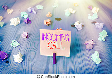 Conceptual hand writing showing Incoming Call. Business photo text Inbound Received Caller ID Telephone Voicemail Vidcall.
