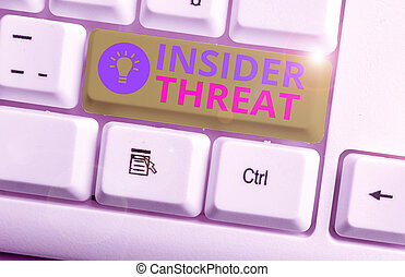 Conceptual hand writing showing Insider Threat. Business photo showcasing security threat that originates from within the organization.